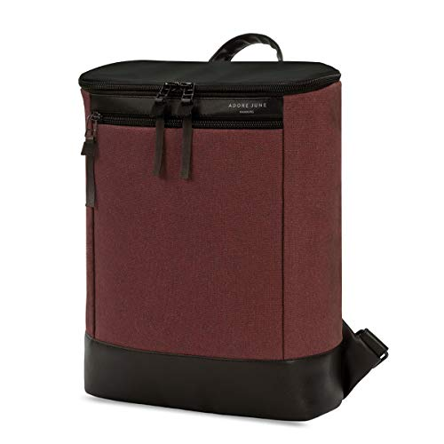 Adore June Damen-Rucksack Kym Bordeaux-Rot, Modischer kleiner Rucksack, Recycling Material, Handgefertigt in Europa, 24 x 30 x 10 cm