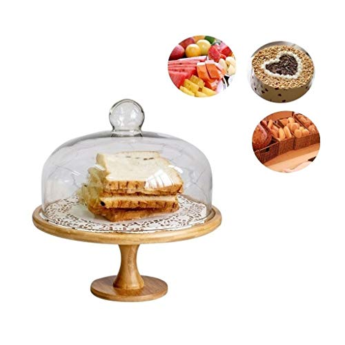 CSQ-plaat Hoge houten plaat, Restaurant Steak Burger Tray glassalade Dome keuken op Fruit Preservation Cover Chip & Dip Server Drie Maten Lichtgewicht (Color : 28.5 * 28.5 * 28.5CM)