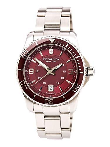 Victorinox Swiss Army Maverick 241604 - Reloj analógico de Cuarzo para Hombre, Correa de Acero Inoxidable Color Plateado (Agujas luminiscentes)