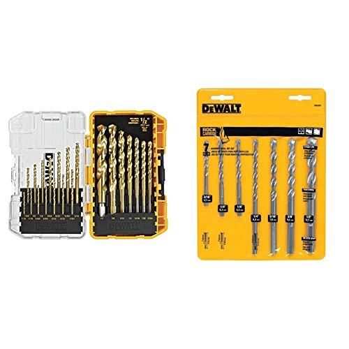 DEWALT Titanium Drill Bit Set, 21-Piece (DW1342) & Masonry Drill Bit Set, Percussion, 7-Piece (DW5207)