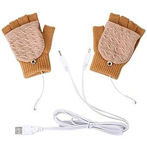 Mengqiy Guantes calefactados USB Medias Medias de Invierno Guantes calefactores USB