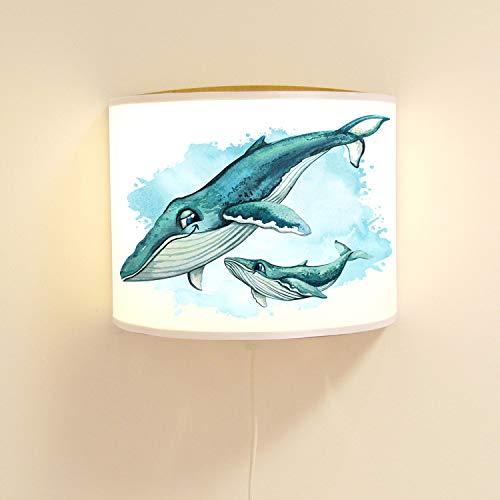 ilka parey wandtattoo-welt Wandlampe Kinderlampe mit süßen Wal & Jungtier Lampe Motivlampe Leselampe Kinderzimmer ls134 - ausgewählte Farbe: *weiß*