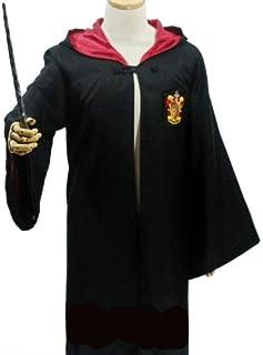 ハリーポッター 衣装セット (ローブ、眼鏡、ネクタイ、魔法の杖) コスチューム 男女共用 XSサイズ
