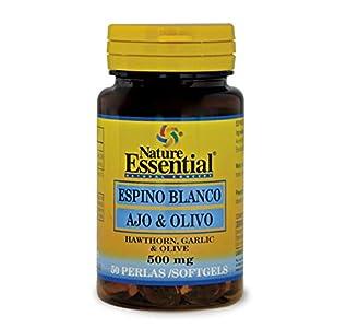 NATURE ESSENTIAL | Espino Blanco + Ajo + Olivo | 500 mg | Para Ayudar a Reducir la Ansiedad | Para la Buena Circulación de la Sangre y Equilibrar el Azúcar en Sangre | 50 Perlas
