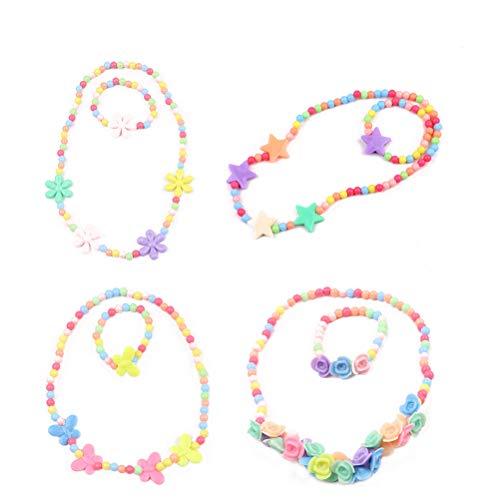 TOYMYTOY Conjuntos de Joya de Collar y Pulsera con Cuentas Linda Joyería para Niñas Chicas - 6 Piezas (Color Caramelo)