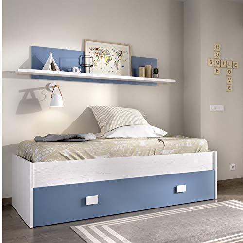 HABITMOBEL Cama Nido con Cajon y Estante Superior Acabado Artic y Azul. para colchón de 90x190cm