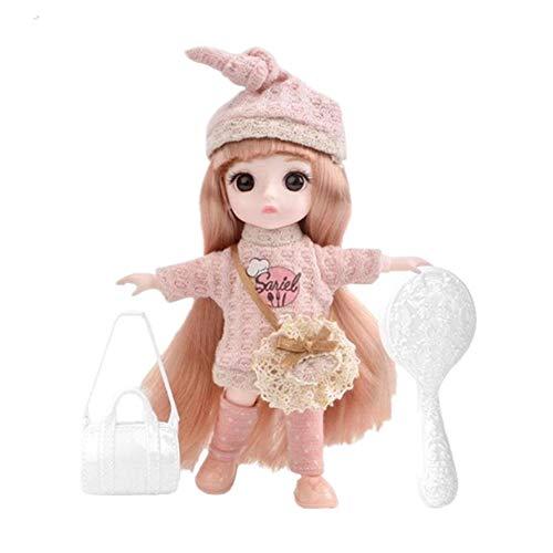 16cm 13 Gelenk bewegliche Mädchenpuppe Spielhaus Prinzessin Kinderspielzeug mit Mode Süße Kleidung für BJD Simulation 3D Dress Up Puppen Geburtstag Weihnachtsgeschenk DIY Zubehör