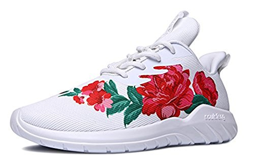 Soulsfeng Sports Fashion Sneakers for Mens Womens Walking Shoes Lightweight Breathable Fabric Flower Design Couples Footwear Size EUR 43