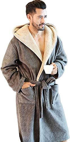 JYCDD Albornoz para hombre, de forro polar, doble capa, con capucha, cinturón, gris claro, XXL