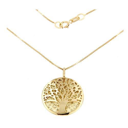 forme di Lucchetta Schmuck - Damen Baum des Lebens Anhänger Halskette 585 Gelbgold, 14 Karat Gold Baum des Lebens Anhänger mit 42 cm Venezianischer-kette