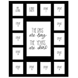 School Days Picture Mat with Multiple Openings–School Years Photo Collage – The Days Are Long Picture Mat - No Frame - 1 Pre-School & Kindergarten to 12th Grade (15 Photos, 1 Pre School - 12th, Black)