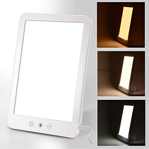 Light Therapy Lamp 10000 Lux Full Spectrum SAD Light Box met Stepless Touch & Three Lighting Mode voor SAD/Depression/Sleep Disorder/Jet lag (wit)