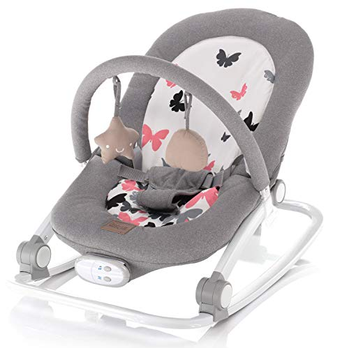 ZOPA Schaukelwippe RELAX - babywippe babyliege (Grey butterflies)