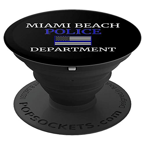 Miami Beach Polizei dünne blaue Linie USA Flagge - PopSockets Ausziehbarer Sockel und Griff für Smartphones und Tablets