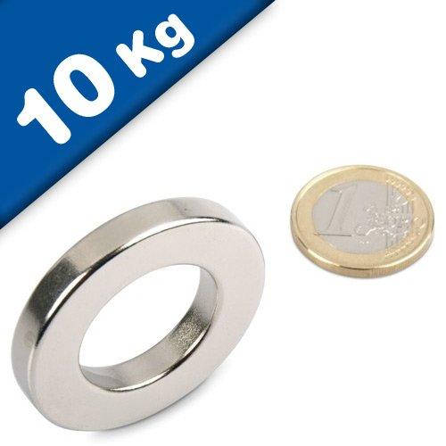 Ring-Magnet Magnetring aus Neodym (NdFeB) - Größe & Stückzahl wählbar - Haftkraft bis 36kg - starke Magnete (Supermagnete) in Ringform mit extremer Haftkraft, Größe: Ø40/23x6mm | 10kg Haftkraft
