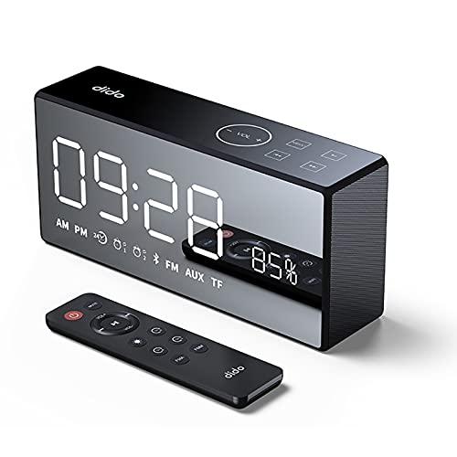 Altavoces Bluetooth 5.0, Reloj Despertador Digital con Altavoz Bluetoot, Despertador Led Bluetooth Soporte de Tarjeta TF Radio FM Antena Construido, USB, Llamadas Manos Libres,Black