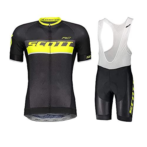 Zimrobin Estivo Abbigliamento da Ciclismo per Uomo Set Abbigliamento MTB Traspirante Quick Dry Maglia Manica Corta da Ciclista + 3D Gel Salopette Pantaloncini Ciclismo