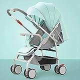 LjfⓇ Poussette Hot Mom, Poussette compacte et légère Besrey, Poussette inclinable pour Chariot de Voyage pour bébé Ultra-léger avec poignée, Vert Lotus