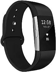 Kmasic Compatibel voor Fitbit Charge 2 riem, zachte siliconen vervangende riem verstelbare sportbanden polsband accessoires voor Fitbit Charge 2 fitness smartwatch vrouwen mannen, kleine grote