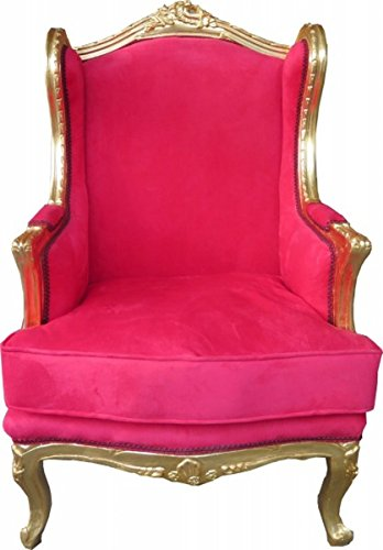 Casa Padrino Barock Lounge Thron Sessel Ohrensessel Rot/Gold 83 x 83 x H. 110 cm - Limited Edition