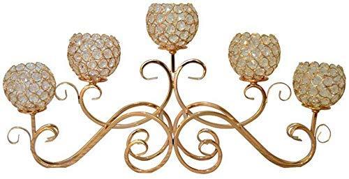ZANYUYU Candelabro de cristal para decoración de restaurante, decoración de centro de metal, portavelas para decoración del hogar (color: dorado)