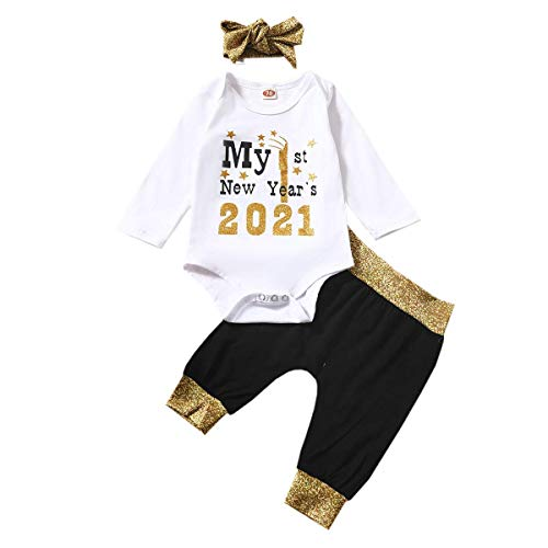 Mi Primer año Nuevo 2021 bebé niño niñas Mameluco Traje recién Nacido de Manga Larga Mono Pantalones Superiores Diadema Otoño Invierno Ropa (Blanco,18-24 Meses)