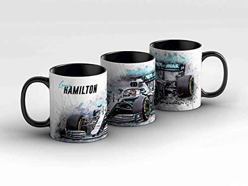 gasoline.gallery Formel 1 Tasse - Lewis Hamilton - Mercedes AMG Petronas Motorsport - Front schwarz Kaffeebecher
