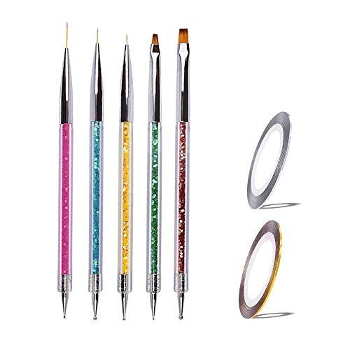 7 Teilig Nagel Pinsel Set, Nagel Kunst Malerei Zeichnung Pinsel Pen für UV-Gel und Acrylfingernägel, nailart Liner Pinsel &Nageldesign Nail Art Stripes, Nagelzubehör design Pediküre Maniküre