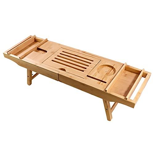 Wede Bañera Rack Bañera Rack Organize Pallets Batería De Bambú Pastilla De Losa con Copas De Vino De Madera