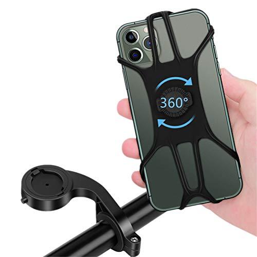 Porta Cellulare Bici, Porta Cellulare Moto Staccabile, Supporto Telefono Bici Regolabile con Rotazione a 360°per Manubrio Moto/Bicicletta, Misura per 4,5-6,8 Pollici Smartphones