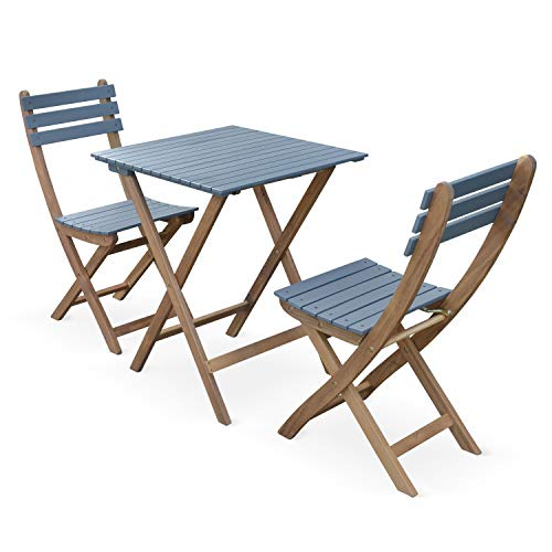 Alice's Garden Conjunto de jardín de Madera Bistro 60x60cm - Barcelona - Azul grisáceo, Mesa Plegable Cuadrada Bicolor con 2 sillas Plegables, Acacia