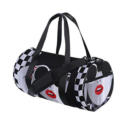 PONIKUCY Sporttasche Reisetasche,Lippenstift Mädchen,Schultergurt Handgepäck für Übernachtung Reisen