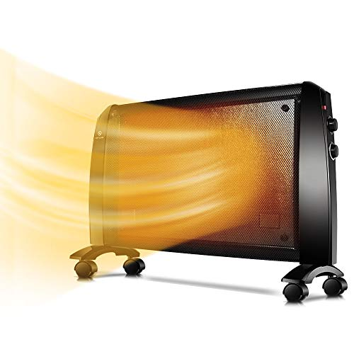 Wall Mica Heater - 1500W Space Heater With Adjustable Thermostat, Panel Wall Heater, Free Stand, Rapid Heating, Low Noise, Indoor Heater with Universal Wheels, Overheating&Tip-Over Protection