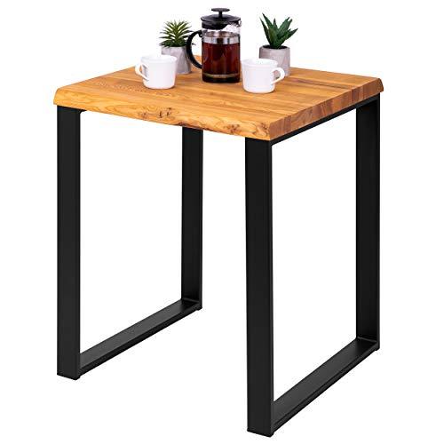 LAMO Manufaktur Beistelltisch Baumkante Couchtisch Küchentisch 60x60x76 cm (LxBxH), Modern, Esche Dunkel/Schwarz, LBB-01-A-004-9005M