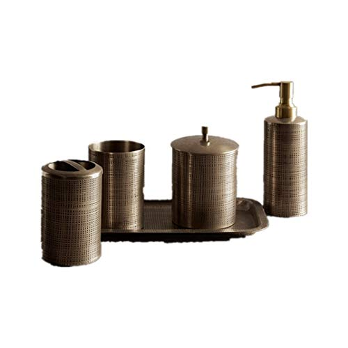 LULIJP Bathroom Wash Set Copper Bathroom Accessories Set Solid Brass Soap Dispensers Toothbrush Holder Gargle Cups Tray (Color : Brown, Size : Free)