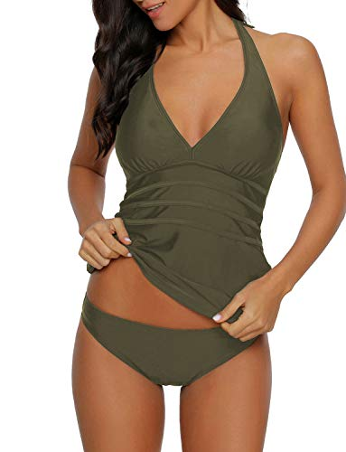Uqnaivs Women's Halter V Neck Two Pieces Swimsuit Open Back Tankini Set Bathing Suit Army Green Size Medium (US 8-10)