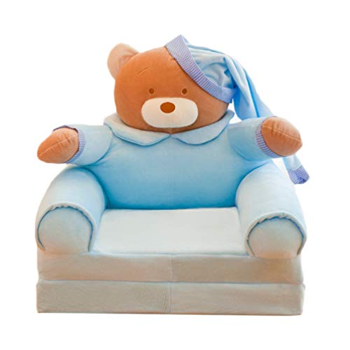 STOBOK Sky Blue Kids Mini Sofa Cover Foldable Couch Chair Bed Cover Flip Open Sofa Bed Slipcover Bear Style Children Recline Seat Sofa Armchair Cover (No Stuffing) 45x80x50cm