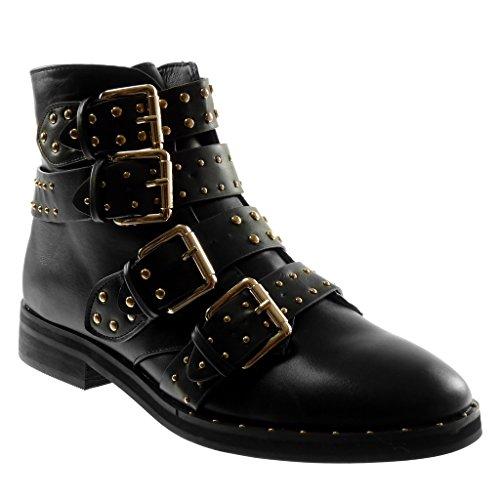 Angkorly - Damen Schuhe Stiefeletten - Biker - String Tanga - Nieten - besetzt - golden Blockabsatz...