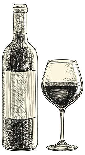dekodino® Wandtattoo Küche Alkohol Weinflasche und Weinglas malerisch