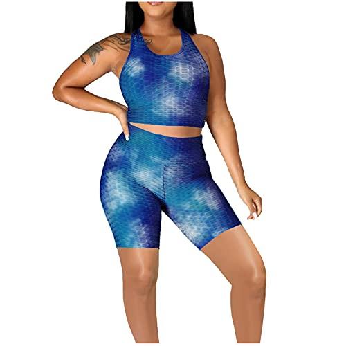Traje Deportivo de Mujer con Efecto Tie-Dye de Dos Piezas Chaleco Deportivo + Pantalón Corto Apta para Yoga, Correr, Gimnasio