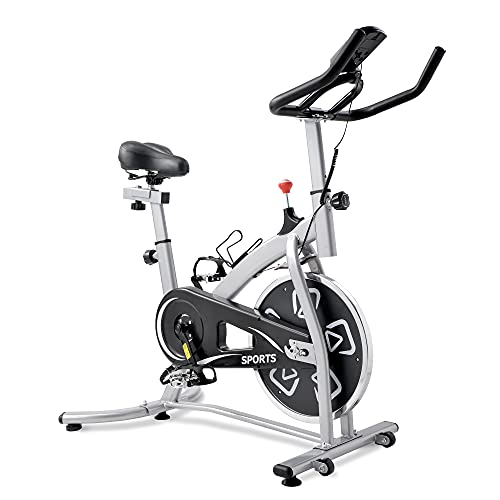 Bicicleta de velocidad con pantalla LCD y soporte para bebidas, ergómetro con accionamiento por correa, bicicleta interior, ajuste de resistencia continuo.