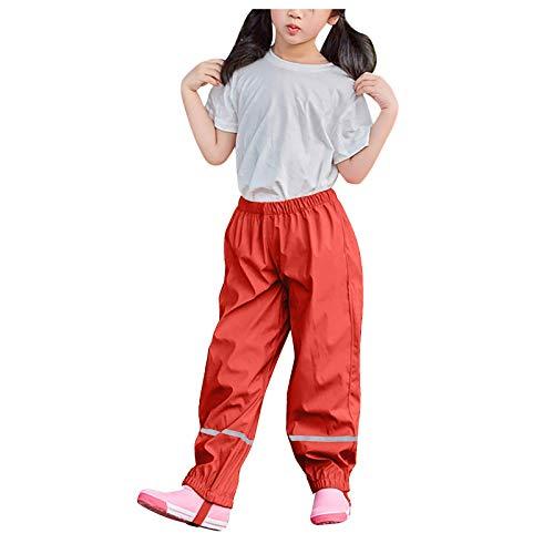 yazidan Pantalones de lluvia para niños, unisex, peto de lluvia para niñas, jóvenes, resistentes al viento e impermeables, transpirables, para cubrir los pantalones de esquí 05#-Rojo 104