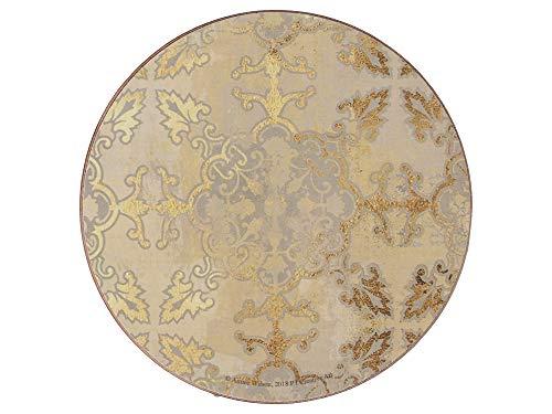 Creative Tops - Set di 4 sottobicchieri con retro in sughero, motivo stampato 'Impressioni dorate', rotondo/grigio, 12 cm