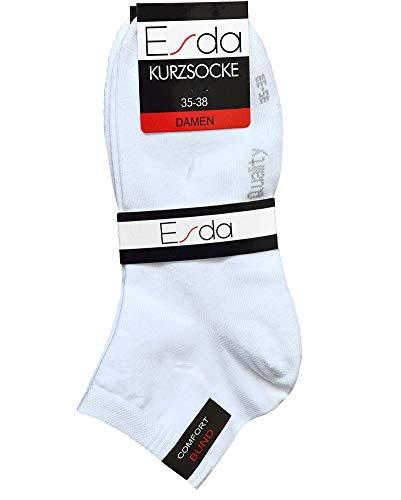 Esda - Damen Kurz Socken ''Komfort'' weiss Piqué-Komfortbund 3er Pack 39/42