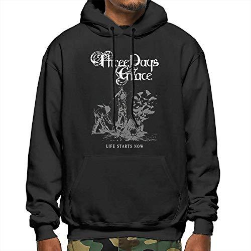 Tengyuntong Men's Hooded Sweatshirt, Three Days Grace Men's Hoodies Casual Hooded Drawstring Sweatshirts with Pocket - Black - XX-Large