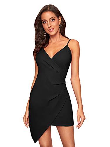Soly Hux - Vestido corto ajustado para mujer, sin mangas, con tirantes, elegante, asimétrico, con...