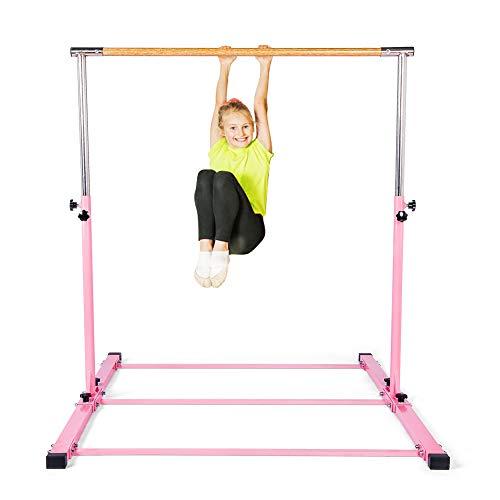 SHIWEI Gymnastics Training Bar- Height Adjustable 3' to 5' Horizontal Kip Bar for Kids (Pink-1)