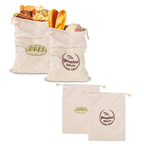 Linen Bread Bags for Homemade Bread Storage Keeper Large Reusable Cotton Cloth Food Loaf Bags with Drawstring Best Gifts for Bakers 4 Pieces in 2 Sizes
