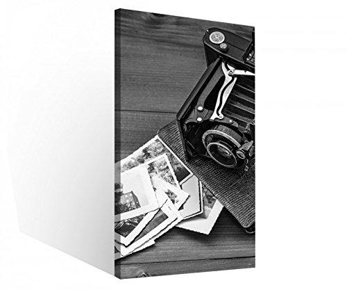 Leinwandbild 1 Tlg Retro Vintage Kamera Album Fotos schwarz weiß Leinwand Bild Bilder Holz gerahmt 9U1100, 1 Tlg BxH:40x80cm
