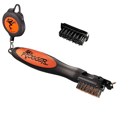 Frogger Golf BrushPro Retractable Golf Club Brush with Groove Cleaner, Orange